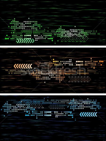 Ciemne tech banery zestaw eps 10 Zdjęcia stock © saicle