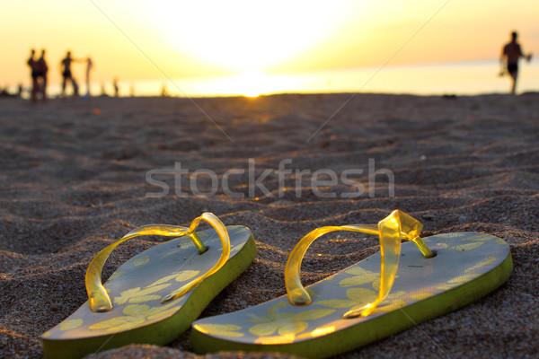 Sandales sable belle coucher du soleil désert été Photo stock © saicle