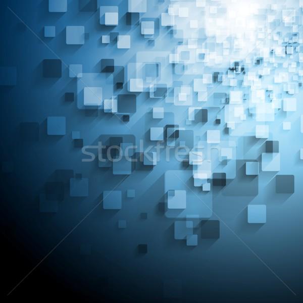 Kék technikai vektor négyzetek absztrakt terv Stock fotó © saicle