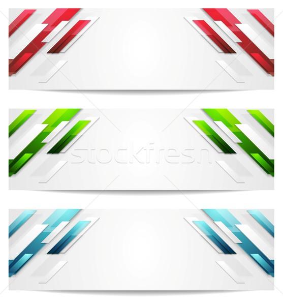 геометрический аннотация Баннеры вектора дизайна бизнеса Сток-фото © saicle