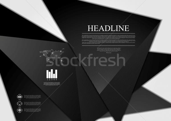 Czarny minimalny tech wektora projektu ilustracja Zdjęcia stock © saicle