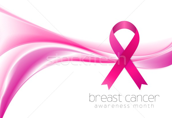 Breast cancer awareness month. Smooth wave and ribbon design Stock photo © saicle