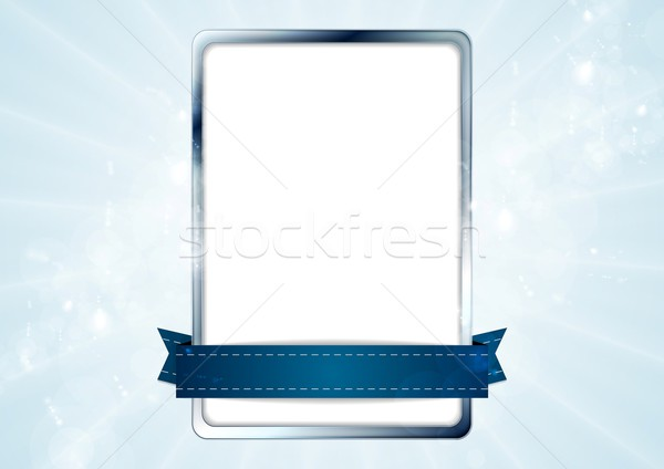 Blank white rectangle with silver frame and blue tape Stock photo © saicle