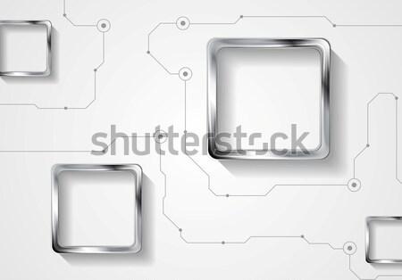 Resumen tecnología circuito plata cuadrados vector Foto stock © saicle