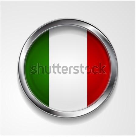 Vecteur bouton élégant métallique cadre drapeau italien Photo stock © saicle