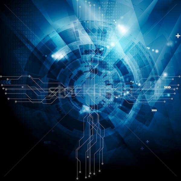 Sombre bleu tech résumé vecteur design Photo stock © saicle