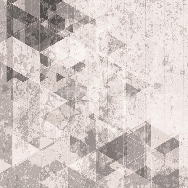Grunge retro tech background. Triangles pattern Stock photo © saicle