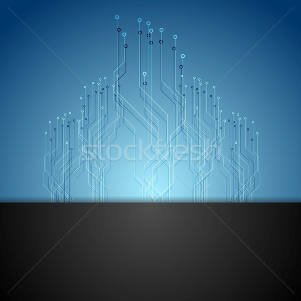 Donkere Blauw circuit board tech vector ontwerp Stockfoto © saicle