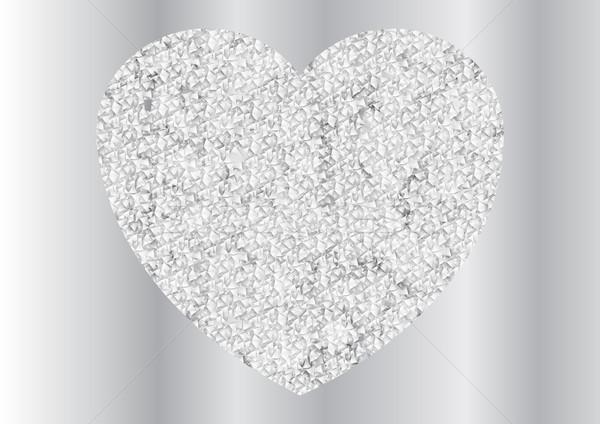 Grey silver sparkling polygonal heart design Stock photo © saicle