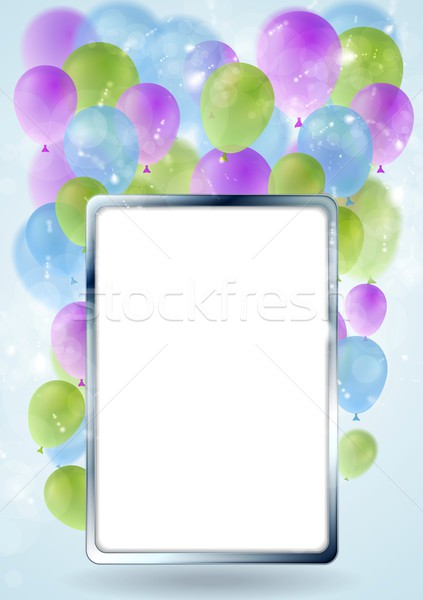 Greeting card design with silver blank frame and balloons Stock photo © saicle