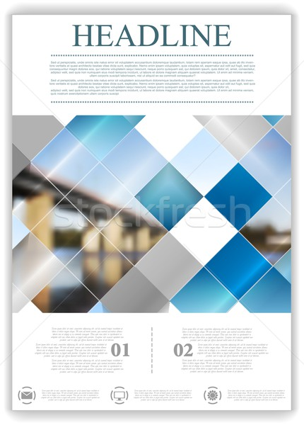 Abstract geometric flyer template layout with bridge landscape Stock photo © saicle