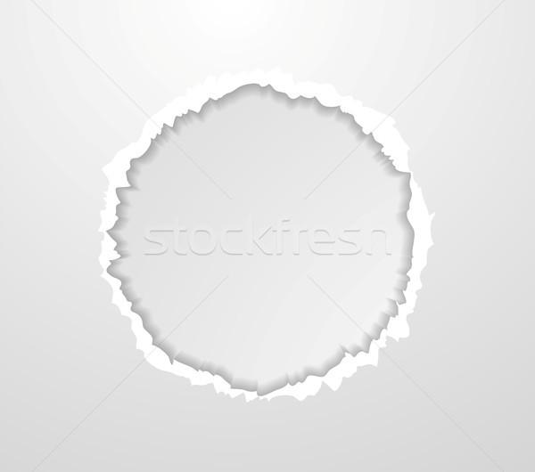 Soyut daire yırtık kağıt kenar gri vektör Stok fotoğraf © saicle