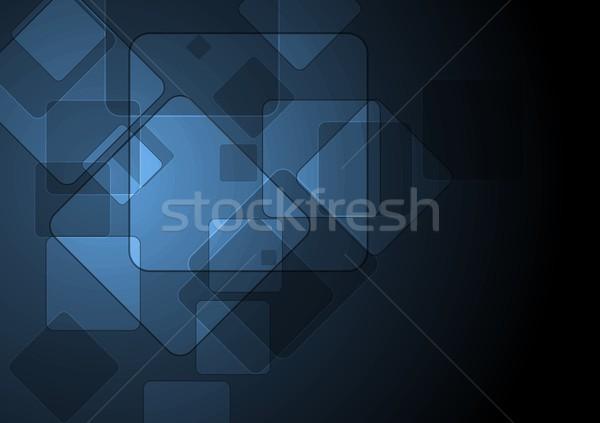 технологий абстракция темно синий квадратный Элементы Сток-фото © saicle