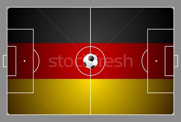 Fényes futballabda színek futballpálya vektor terv Stock fotó © saicle