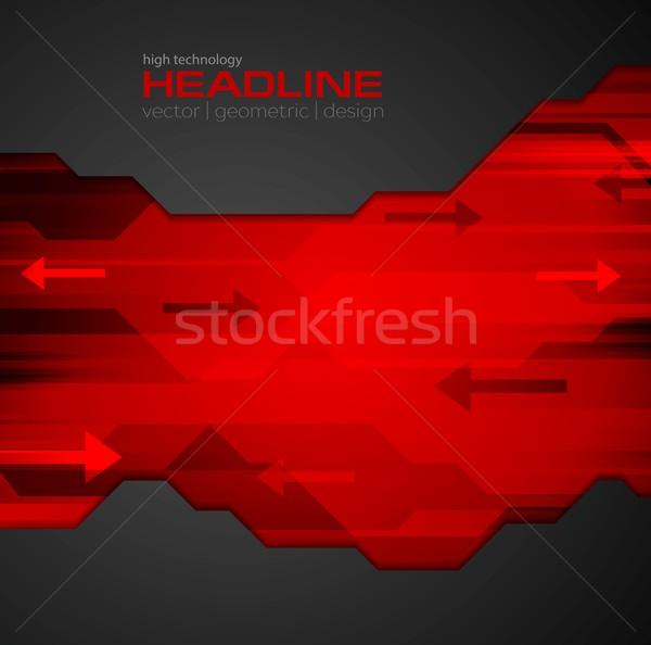 аннотация красный черный Tech вектора корпоративного Сток-фото © saicle