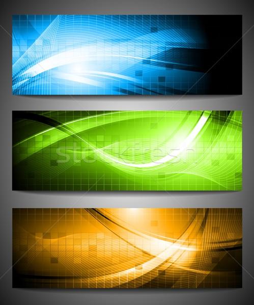 Szett vibráló bannerek három színes eps Stock fotó © saicle
