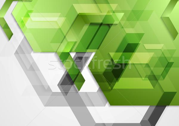 Zöld fényes mértani vektor terv textúra Stock fotó © saicle