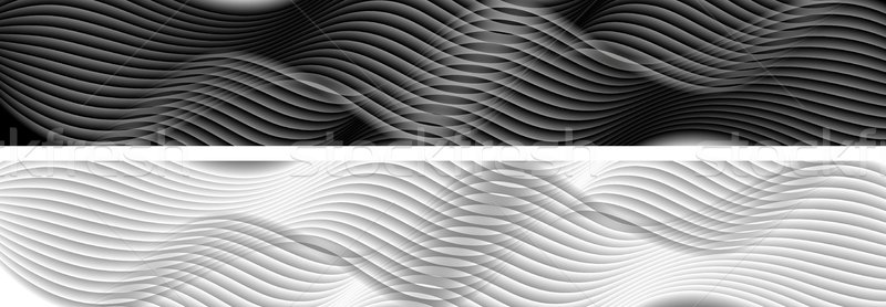 Abstract black and white wavy banners Stock photo © saicle