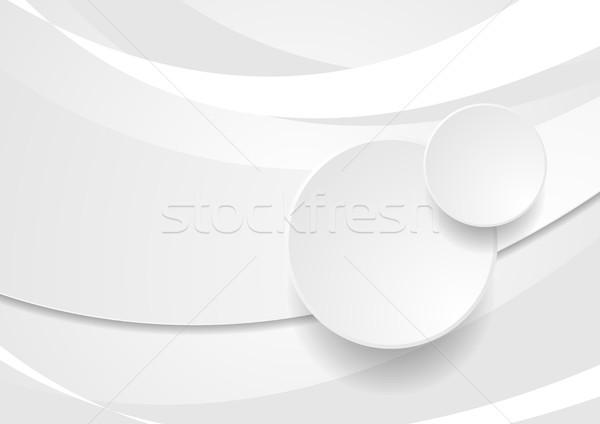 Szary biały falisty circles streszczenie wektora Zdjęcia stock © saicle