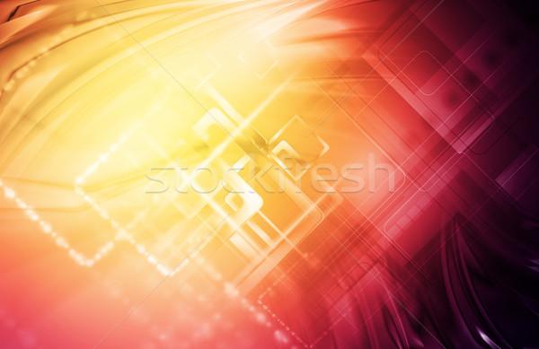 Streszczenie jasne technologii tapety cyfrowe tech Zdjęcia stock © saicle