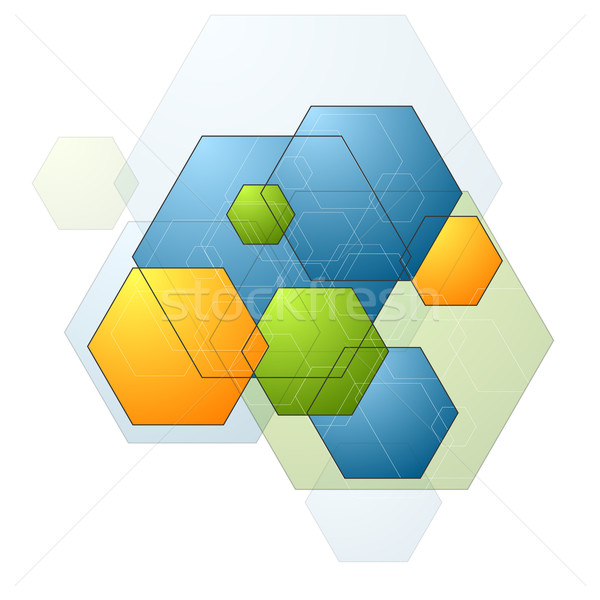 Colorful bright geometry hexagons background Stock photo © saicle