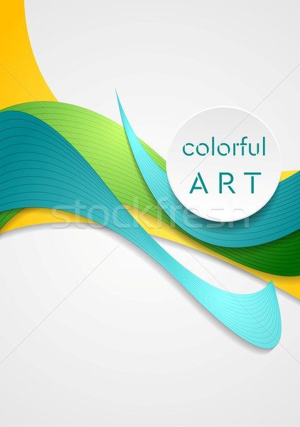 Foto stock: Brilhante · corporativo · vetor · colorido · ondas · elegante