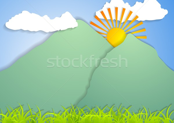 Paisaje resumen vector montana cielo textura Foto stock © saicle