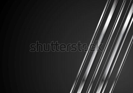 Abstract tech brillante metallico nero Foto d'archivio © saicle