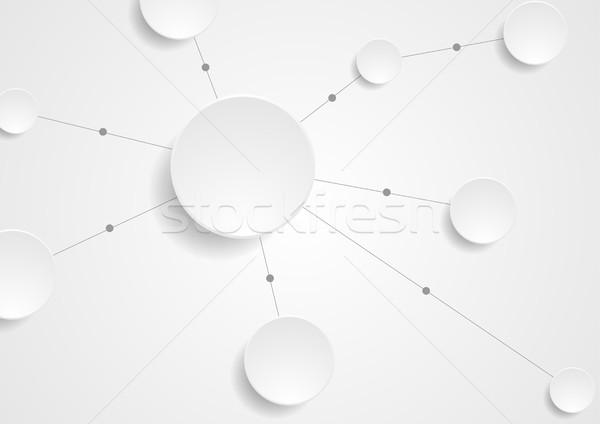 Boş kağıt entegre circles teknoloji iletişim gri Stok fotoğraf © saicle