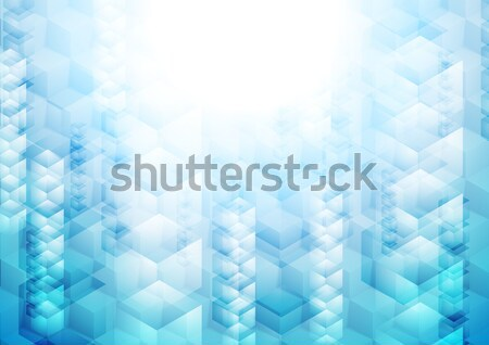 Bright blue tech geometric background with cubes Stock photo © saicle