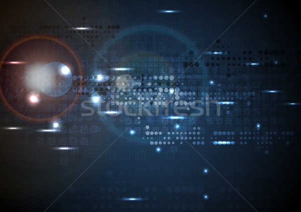 Dark blue tech background with geometric shapes Stock photo © saicle