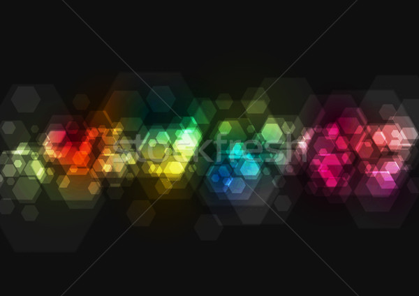 Colorful geometric hexagons tech background Stock photo © saicle