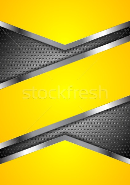 Abstract yellow perforated background with metallic design Stock photo © saicle