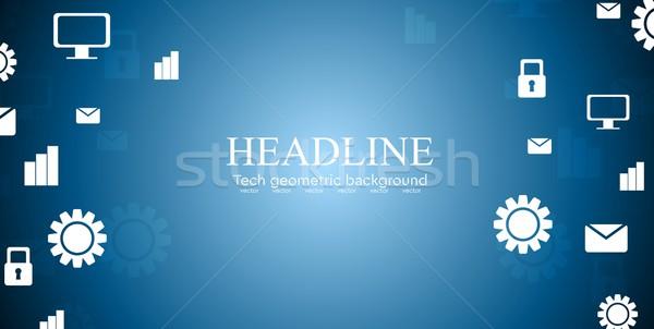 Abstrakten Tech Design sozialen Web-Icons Rahmen Stock foto © saicle
