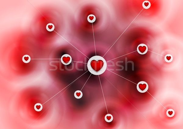 Ligne datant communication coeurs vecteur amour Photo stock © saicle