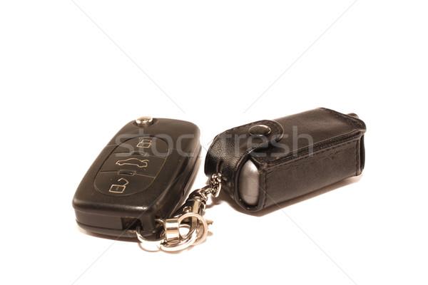 Tuşları araba anahtarları çekicilik beyaz araba arka plan Stok fotoğraf © saicle