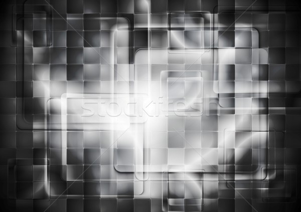 Transparent glass dark squares. Abstract tech geometry design Stock photo © saicle