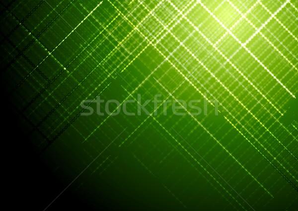 Dark green shiny tech vector brochure background Stock photo © saicle