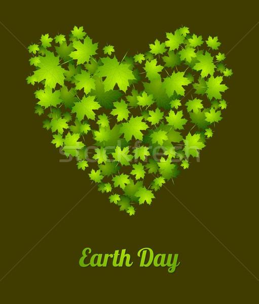 Föld napja ökológia zöld levelek vektor zöld absztrakt Stock fotó © saicle