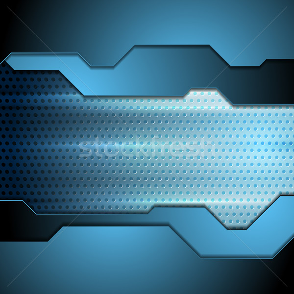 Stock photo: Blue tech perforated carbon background