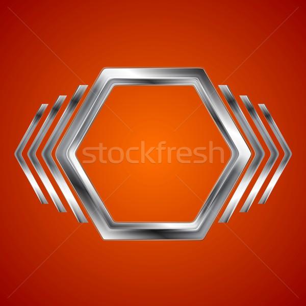 Absztrakt fém hatszög nyilak forma vektor Stock fotó © saicle