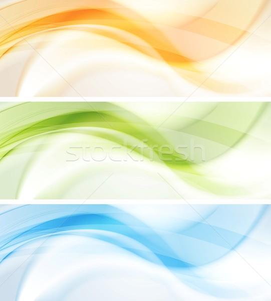 ストックフォト: カラフル · 波 · ベクトル · バナー · 抽象的な · 波状の