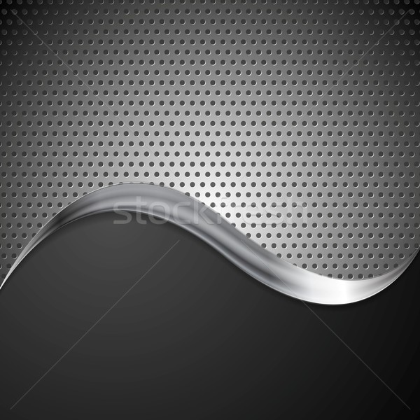 Abstract perforated metal background and steel wave Stock photo © saicle