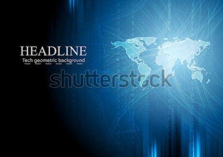 Karanlık mavi teknoloji ikili kod dünya haritası Stok fotoğraf © saicle