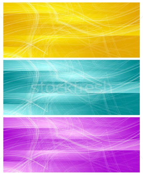 Bright banners with abstract chaotic wavy lines Stock photo © saicle