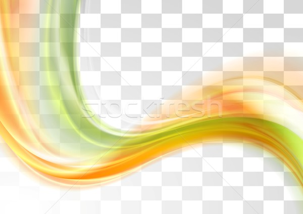 Green and orange smooth blurred transparent waves Stock photo © saicle