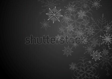 Fekete szürke karácsony hópelyhek vektor művészet Stock fotó © saicle