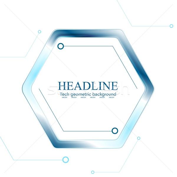青 ハイテク 六角形 白 ベクトル グラフィックデザイン ストックフォト © saicle