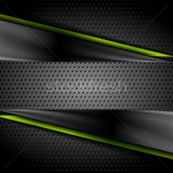 Tech dark glossy background with perforated metal texture Stock photo © saicle