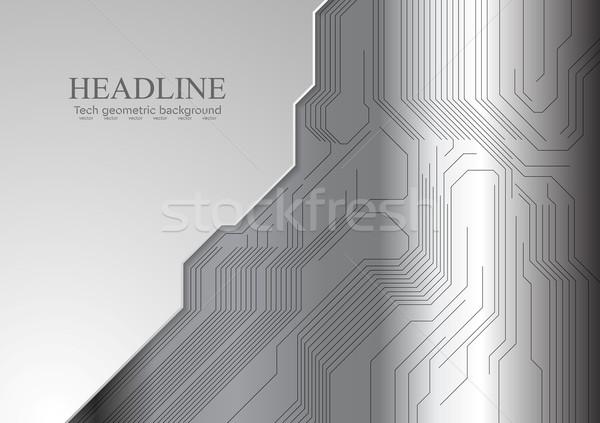 Resumen metálico circuito vector gris tecnología Foto stock © saicle